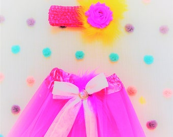 Sweet Lamb Clothing 'Children's Pink Modified Tutu and Yellow Feather Headband' for Kids, boys, girls
