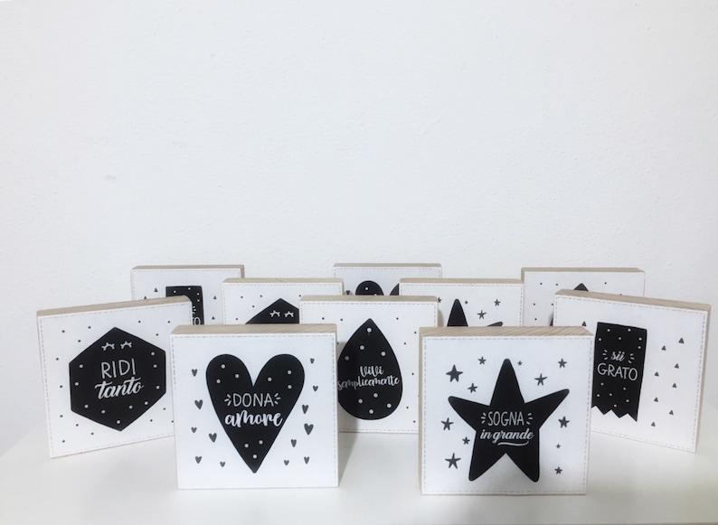 scatolina confetti tag adesivo battesimo porta confetti Bomboniere battesimo quadretti in legno con frasi personalizzate