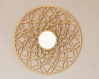 ring gold mirror, future gold mirror, modern home decor