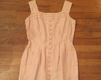 Vintage Pink Cotton Dress with Button Detail