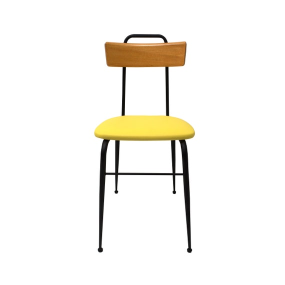 Tremendous Vintage Industrial Chair Joly In Yellow Faux Leather Metal With Curved Wood Back Gmtry Best Dining Table And Chair Ideas Images Gmtryco