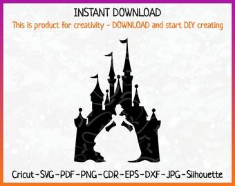 Princess Cinderella SVG, Cinderella Castle Silhouette, Cinderella SVG, Cinderella Castle Iron On, Cinderella Shirts, Disney Castle Digital