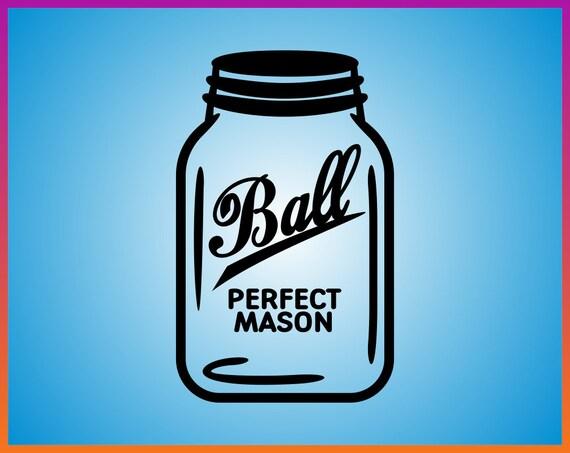 Weckglas Svg Datei Ball Mason Jar Svg Vektor Eisen Auf übertragung Silhouette Cricut Pdf Jpg Png Dxf Geschnitten Datei Ball Mason Gläser Svg