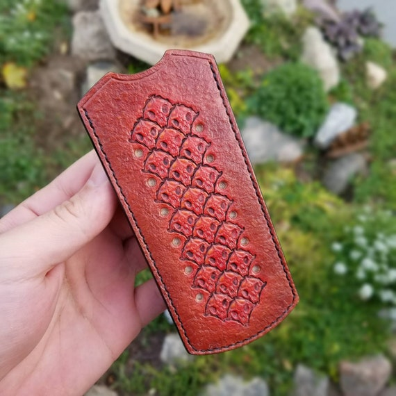 Red Bali cocoonbalisong sheath with pocket clip