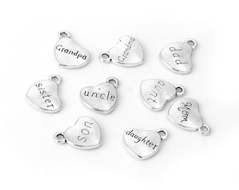 5 Clip On Family Name DAUGHTER Heart Charms Silver Jewellery Wholesale Bulk Buy