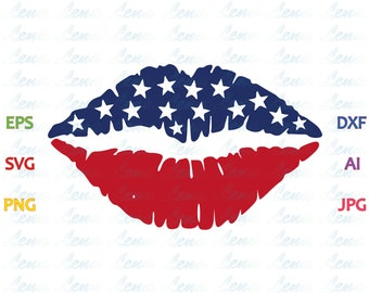 American Flag Lips SVG American Flag svg US Fourth of July SVG 4th of July Shirt July 4th Gift svg png dxf eps file Silhouette cameo cricut