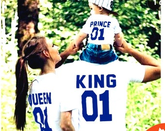 King Queen Prince Princess , King and Queen shirts, MATCHING FAMILY Daddy Baby Kid Matching Family Fathers Day Outfit ( Price 1 Tshirt )