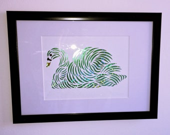 A4 Metallic Holographic Paper-cut Swan Picture