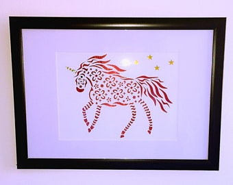 A4 Metallic Holographic Red Paper-cut Unicorn Picture