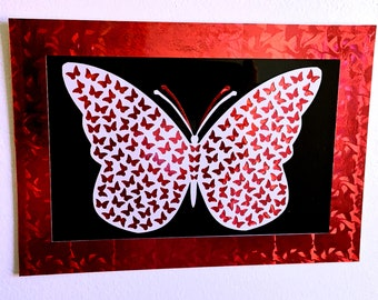 A5 Metallic Holographic Paper-cut Butterfly Pictures