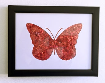 A5 Sequin Glitter Card, Paper-cut Butterfly Picture