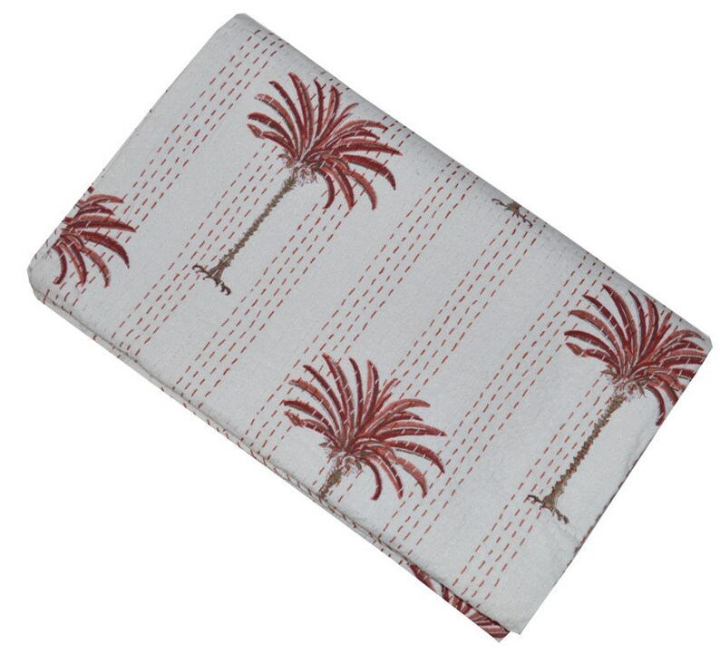 Indian Palm Tree Cotton Kantha Quilt Bohemian Handmade Reversible Bedding Bedspread Throw Bed Cover Hippie White Cotton Kantha Quilt Throw