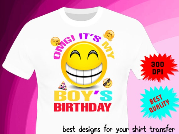 Emoji Iron On Transfer Birthday BOY Shirt