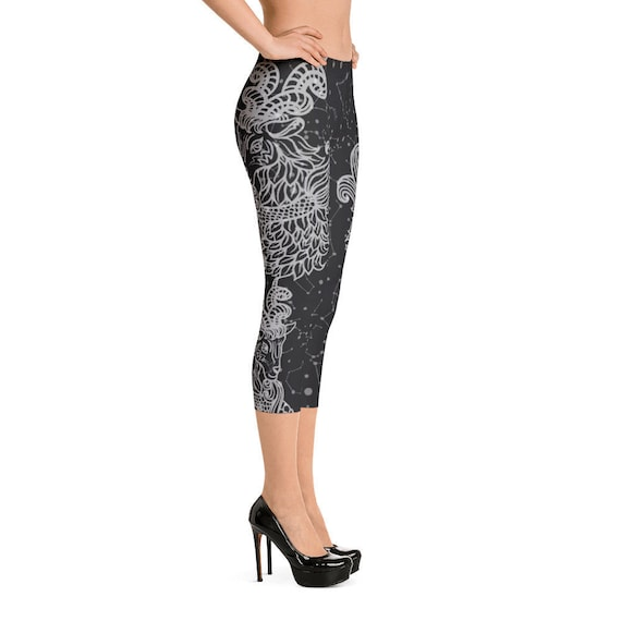 b3603b7bcb0093 Yoga Pants / Capricorn Black and White Capri Leggings / Yoga | Etsy