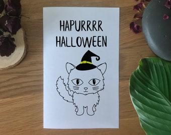 Printable Halloween Cat Card, Colouring Card, Cat Lover Gift, Cat Greeting Card, Cartoon Cat Printable, Hapurrrr Halloween Digital Download