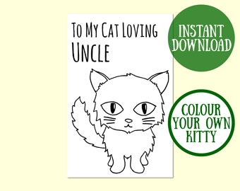 Cat Uncle Birthday Card, Cat Lover Gift, Cat Greeting Card, Birthday Cat Card Digital Download, Cat Birthday Printable, Instant Download