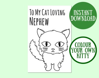 Cat Nephew Birthday Card, Cat Lover Gift, Cat Greeting Card, Birthday Cat Card Digital Download, Cat Birthday Printable, Instant Download