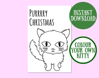 Purrrry Christmas Cat Card, Cat Lover Gift, Cat Greeting Card, Christmas Cat Digital Download, Cat Christmas Printable, Instant Download