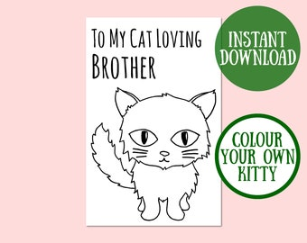 Cat Brother Birthday Card, Cat Lover Gift, Cat Greeting Card, Birthday Cat Card Digital Download, Cat Birthday Printable, Instant Download