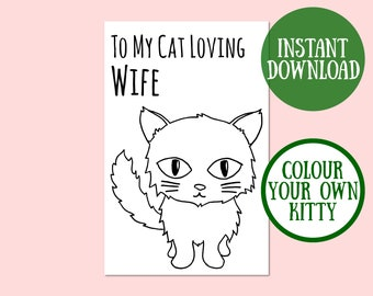 Cat Wife Birthday Card, Cat Lover Gift, Cat Greeting Card, Birthday Cat Card Digital Download, Cat Birthday Printable, Instant Download