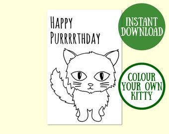 Happy Purrrrthday Cat Birthday Card, Cat Lover Gift, Cat Greeting Card, Cat Card Digital Download, Cat Birthday Printable, Instant Download