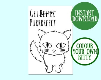 Get Better Purrrrfect Cat Card, Cat Lover Gift, Cat Greeting Card, Cat Card Digital Download, Cat Printable Greeting Card, Instant Download