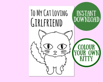 Cat Girlfriend Birthday Card, Cat Lover Gift, Cat Greeting Card, Birthday Cat Digital Download, Cat Birthday Printable, Instant Download