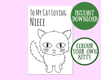 Cat Niece Birthday Card, Cat Lover Gift, Cat Greeting Card, Birthday Cat Card Digital Download, Cat Birthday Printable, Instant Download