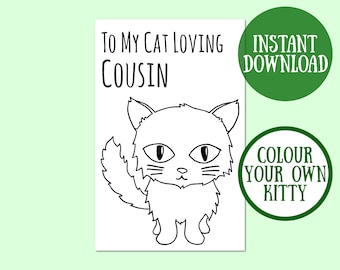 Cat Cousin Birthday Card, Cat Lover Gift, Cat Greeting Card, Birthday Cat Card Digital Download, Cat Birthday Printable, Instant Download
