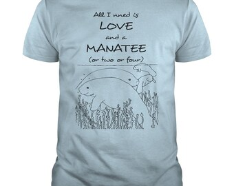 I Need Love And Manatee T-shirt | Magicful Home Beach&Ocean | Men's and Women's Style | Various Colours | Supports Ocean Charity