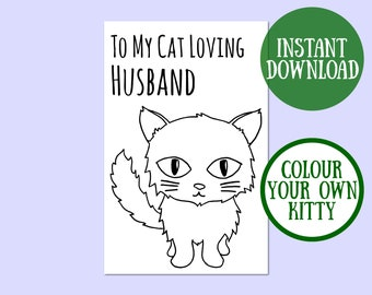 Cat Husband Birthday Card, Cat Lover Gift, Cat Greeting Card, Birthday Cat Card Digital Download, Cat Birthday Printable, Instant Download