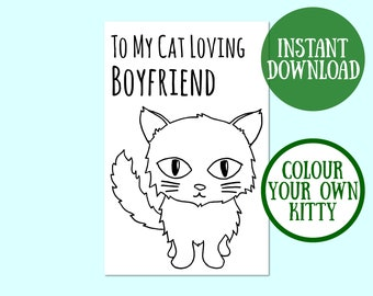 Cat Boyfriend Birthday Card, Cat Lover Gift, Cat Greeting Card, Birthday Cat Card Digital Download, Cat Birthday Printable, Instant Download