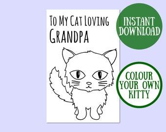 Cat Grandpa Birthday Card, Cat Lover Gift, Cat Greeting Card, Birthday Cat Card Digital Download, Cat Birthday Printable, Instant Download