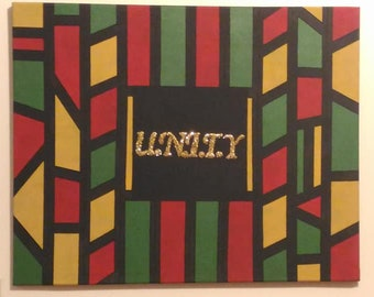 "Stretched Canvas Painting: ""U.N.I.T.Y"""