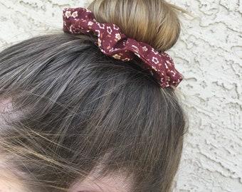 Burgundy Flower Scrunchie