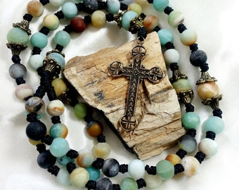 Natural Frosted Amazonite Multicolor Rosary