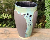 Black and green carved, pierced vase, housewarming gifts, birthday present, gifts for her, Christmas gift