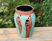 Copper and green carved, pierced vase, housewarming gifts, birthday present, gifts for her, Christmas gift