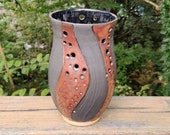 Copper and black carved, pierced vase, housewarming gifts, birthday present, gifts for her, Christmas gift