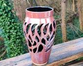Lustre dark Pink ceramic vase, pink vase, pierced vase, dried flower vase, silk flower vase
