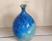 Blue vase, ceramic vase, handmade vase