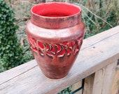 Copper vase, wide necked vase, hand made ceramic vase, gift, pierced vase