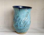 Turquoise vase, vase, ceramic vase