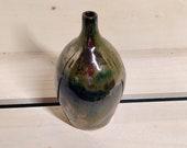 Metallic vase, handmade stoneware bud vase, ceramic vase