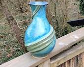 blue green vase, large green vase, handmade ceramic vase
