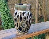 Metallic green vase, handmade stoneware vase, ceramic green vase, pierced vase