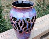 Purple vase, hand made ceramic vase, gift, vase, pierced vase