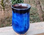 blue vase, ceramic blue vase, vase, gift