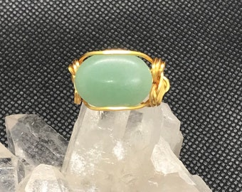 Wire wrapped ring with aventurine stone - size 7