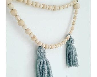 Nursery decor, tassel garland, wooden bead garland, bead garland, boho décor, tassel mobile
